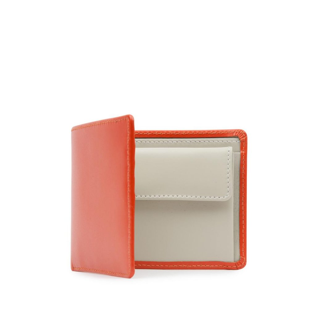 FOUR CREDIT CARD WALLET WITH COIN PURSE – TANGERINE / BONE WHITE